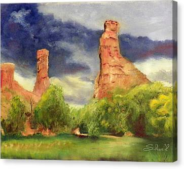 Canvas Print featuring the painting Strawberry Pinnacles by Sherril Porter