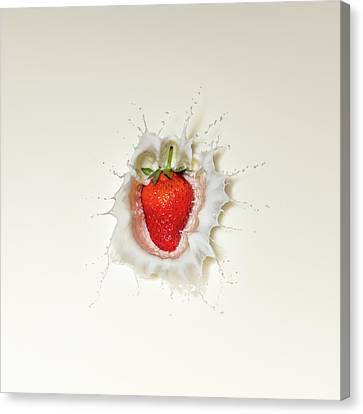 Strawberry Canvas Print - Strawberry Splash In Milk by Johan Swanepoel