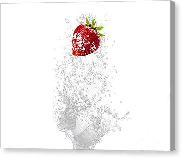Strawberry Splash Canvas Print by Marvin Blaine