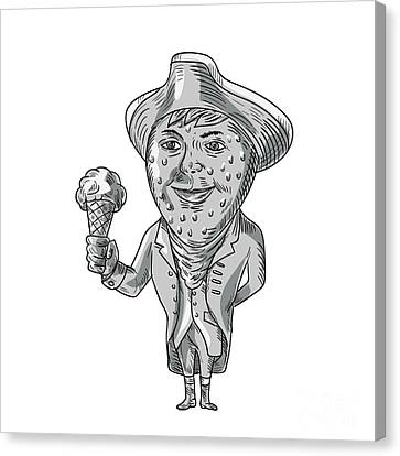 Strawberry Tricorn Hat Ice Cream Black And White Drawing Canvas Print
