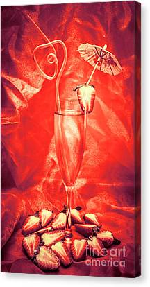 Straweberry Tropical Cocktail Drink Canvas Print