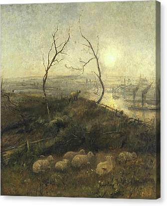 Strayed, A Moonlight Pastoral, 1878 Canvas Print