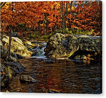 Stream In Autumn 57 In Oil Canvas Print