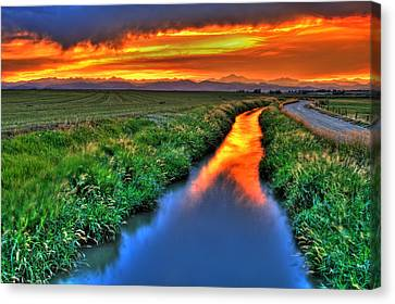 Fort Collins Canvas Print - Stream Of Light by Scott Mahon