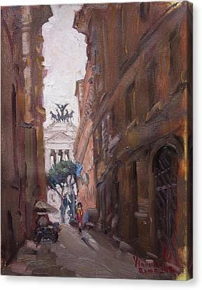 Street At Piazza Venezia Rome Canvas Print by Ylli Haruni