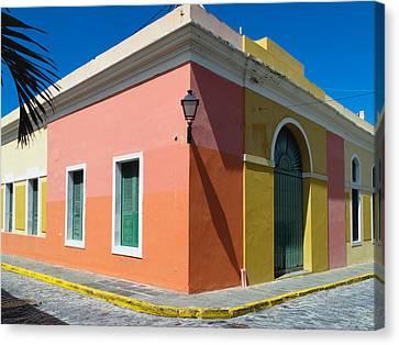 Caribbean Corner Canvas Print - Street Corner In Old San Juan by George Oze