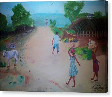 Canvas Print featuring the painting Street Dawn Activities by Nicole Jean-Louis