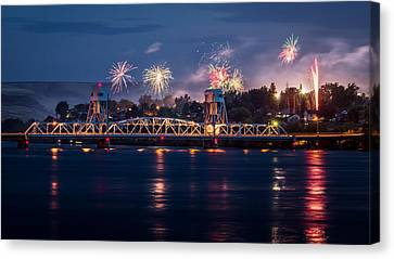 Street Fireworks By The Blue Bridge Canvas Print