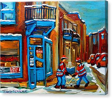 Street Hockey At Wilensky's Montreal Canvas Print by Carole Spandau