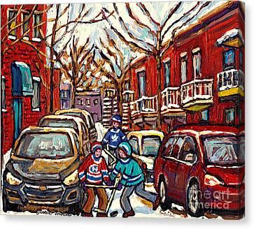 Street Hockey Art Montreal Scene Kids Enjoy Winter Snow Christmas In The City Canadian Art C Spandau Canvas Print by Carole Spandau