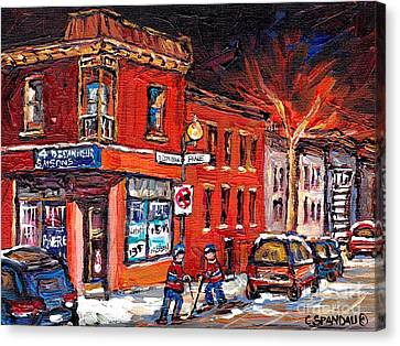 Street Hockey Night Scene Painting 4 Saisons Depanneur Rue St Dominique And Pine Montreal Scene Art Canvas Print
