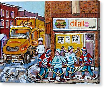 Street Hockey St Henri Dilallo Burger And Mccain's Truck Canadian Art Carole Spandau                Canvas Print