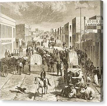 Street In Denver Colorado In 1870s Canvas Print