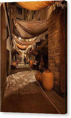 Street In Gothic District Of Barcelona At Night Canvas Print by Artur Bogacki