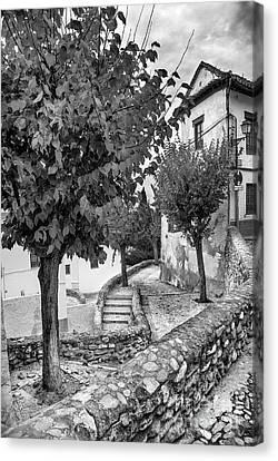 Street In Historic Albaycin In Granada Bw Canvas Print by Guido Montanes Castillo