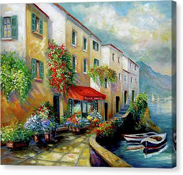 Italian Street Canvas Print - Street In Italy By The Sea by Regina Femrite