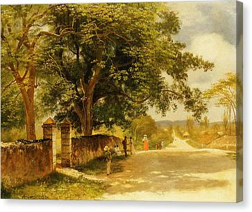 Long Street Canvas Print - Street In Nassau by Albert Bierstadt