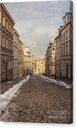 Canvas Print featuring the photograph Street In Warsaw, Poland by Juli Scalzi