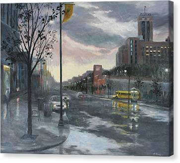 School Bus Canvas Print - Street Lake by Holly Stone
