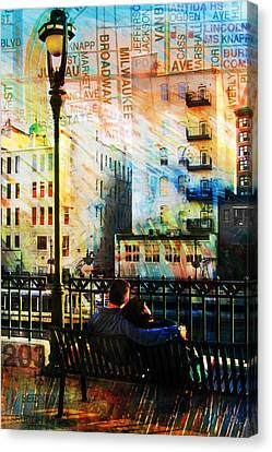 Street Lamp Bench Abstract W Map Canvas Print by Anita Burgermeister