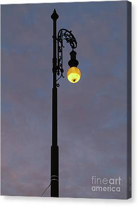 Canvas Print featuring the photograph Street Lamp Shining At Dusk by Michal Boubin