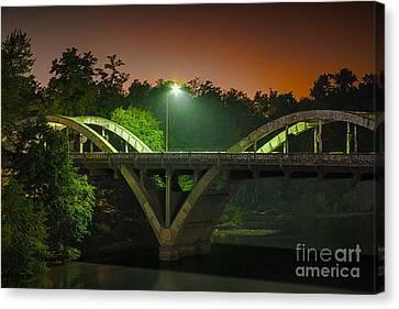 Street Light On Rogue River Bridge Canvas Print by Jerry Cowart