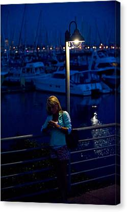 Street Light Texting Canvas Print by Tom Dowd