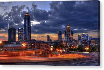 Street Lights At Atlantic Station Sunrise Canvas Print