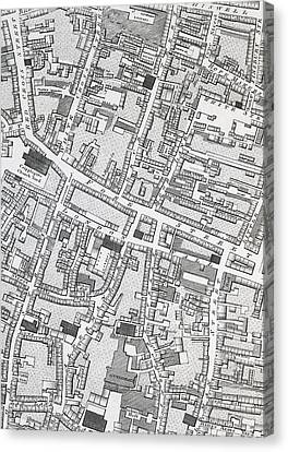 Street Map Of London Around Guildhall Canvas Print by Richard Horwood