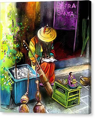 Street Musician In Pietrasanta In Italy Canvas Print by Miki De Goodaboom