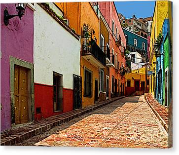 Street Of Color Guanajuato 5 Canvas Print by Mexicolors Art Photography