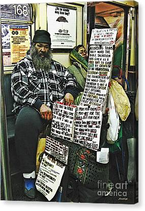 Street Preacher On The A Train Canvas Print by Sarah Loft