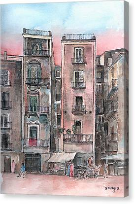 City Scape Canvas Print - Street Scene At Twilight by Arline Wagner