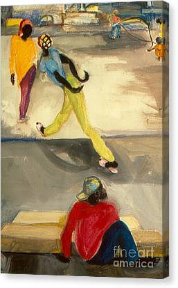 Canvas Print featuring the painting Street Scene by Daun Soden-Greene