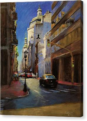 Street Scene In Buenos Aires Canvas Print by Peter Salwen