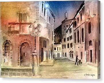 Street Scene In Italy Canvas Print by Arline Wagner