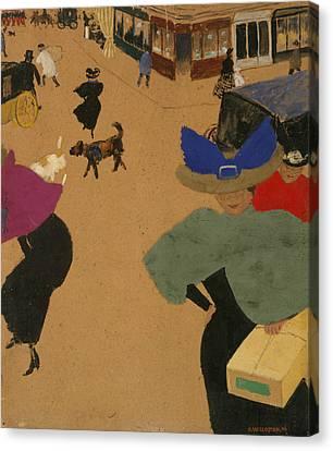 Street Scene In Paris Canvas Print by Felix Vallotton