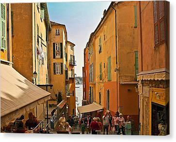 Street Scene In Villefranche Canvas Print by Steven Sparks