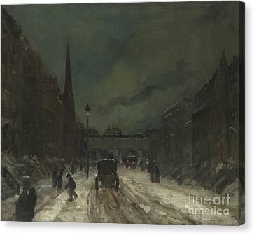 Street Scene With Snow  57th Street, Nyc Canvas Print by Robert Henri