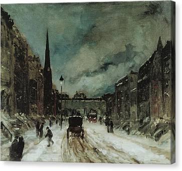 Street Scene With Snow New York City Canvas Print