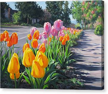 Street Tulips Canvas Print by Karen Ilari