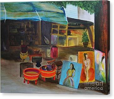 Street Vendor Canvas Print by Jo Baby