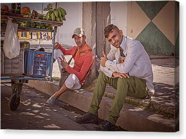 Canvas Print featuring the photograph Street Vendors In Cienfuegos Cuba by Joan Carroll