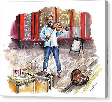 Street Violinist In York Canvas Print