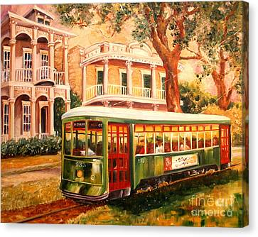 City Streets Canvas Print - Streetcar In The Garden District by Diane Millsap