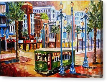 Streetcar On Canal Street Canvas Print by Diane Millsap