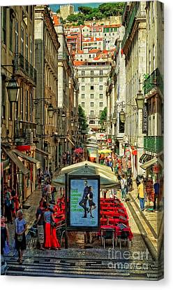 Streets Of Lisbon 3 Canvas Print by Mary Machare