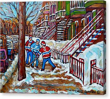 Streets Of Montreal Hometown Hockey Game Wintry Winding Staircases Canadian Art Carole Spandau       Canvas Print by Carole Spandau