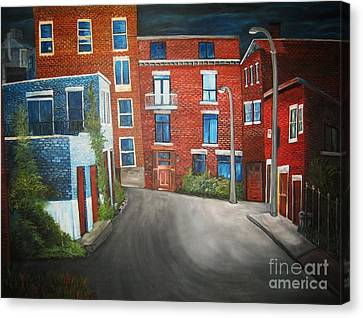 Streets Of Montreal  Joly Canvas Print by Reb Frost