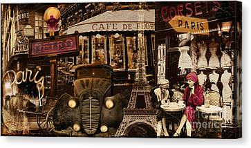 Streets Of Paris Canvas Print by Mindy Sommers